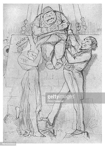 'Humpty Dumpty' 1878 First rough pencil sketch for Punch cartoon Disraeli and Cyprus supporting a Humpty Dumpty figure representing the Ottoman...