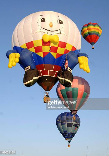 Humpty Dumpty flies overhead during a morning ascent at the Albuquerque International Balloon Fiesta in Albuquerque New Mexico on October 8 2005