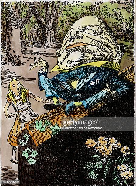 Humpty Dumpty sitting on the wall speaks with Alice who was surprised of the encounter with him a really strange creature Illustration by E B...