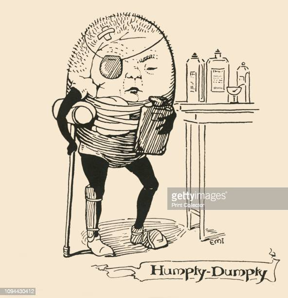 HumptyDumpty' 1928 Nurseryrhyme character with crutch eyepatch and hot water bottle Illustration originally published in a children's annual [SW...