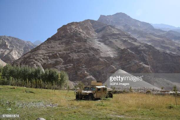 BADAKHSHAN AFGHANISTAN Humvee in front of the mountain slopes containing the lapis lazuli mines Over the past years the government embargoed what it...