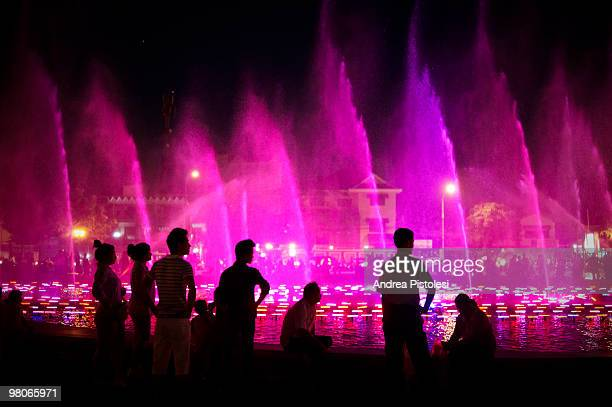 Hun Sen square, fountain. The fastest changing capital city in south east Asia, in it's way of life more then in architectural features. Trendy...