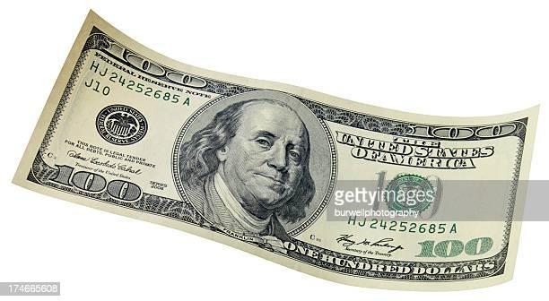 Hundred dollar bill, isloated
