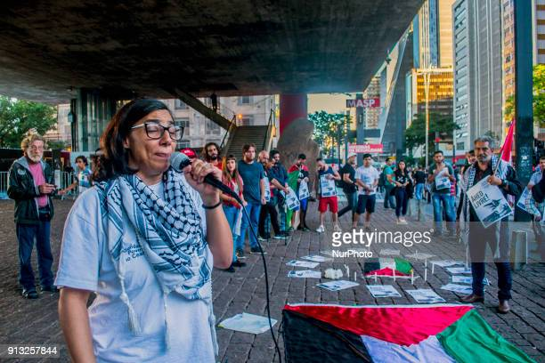 A hundred of activists of Palestinian Community in Brazil gathered in Sao Pauloon 2 February 2018 in solidarity with Ahed Tamimi the young...