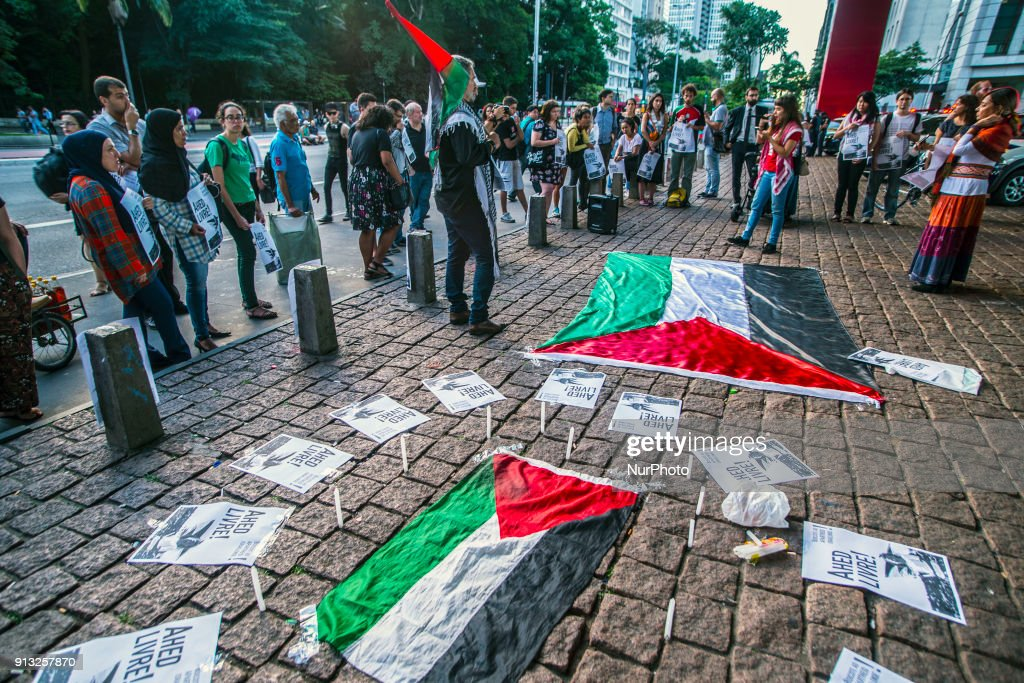 Palestinian Community in Brazil rally for the liberation of Ahed Tamimi : News Photo