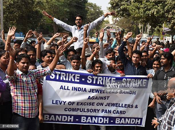 Hundred of Jewellers protest the levy of excise on jewellery and mandating a consumer to provide PAN card details for making purchase of over Rs 2...