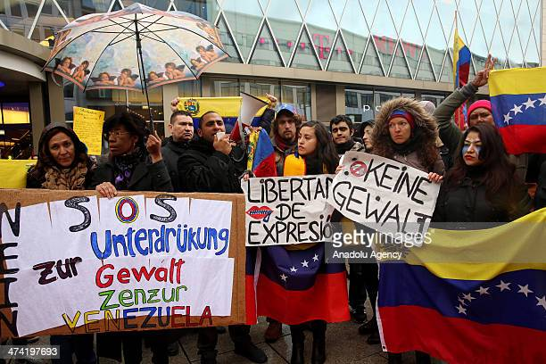 Hundred people gather at the Zeil Square in Frankfurt to protest the anti government demonstration in Venezuela on February 22 2014 in Germany