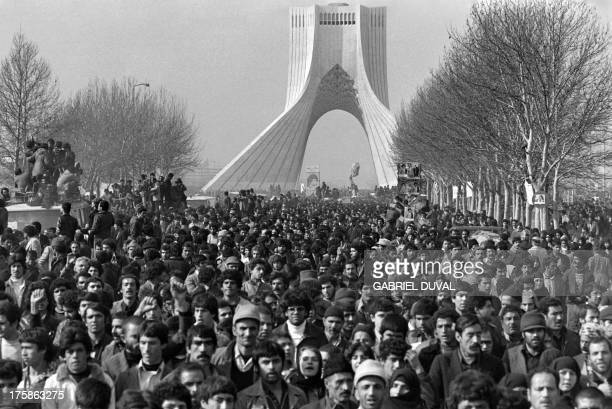 Hundred thousand of people gather at Tehran Freedom Square formerly Monument to the Kings to cheer the motorcade carrying Iranian opposition leader...