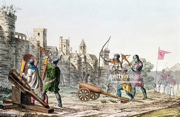Hundred Years War between France and England English troops attacking the walls of a French town with early cannon and both longbows and crossbows...