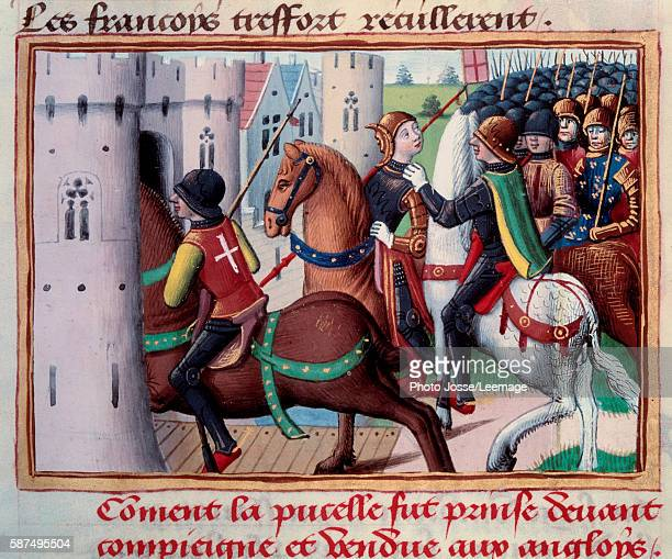 Hundred Years' War Joan of Arc trapped before Compiegne 24 May 1429 Miniature from the manuscript Vigils of king Charles VII by Martial d'Auvergne...
