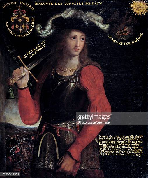 Portrait of Joan of Arc in war costume Anonymous painting of the 17th century BeauxArts Museum Rouen France