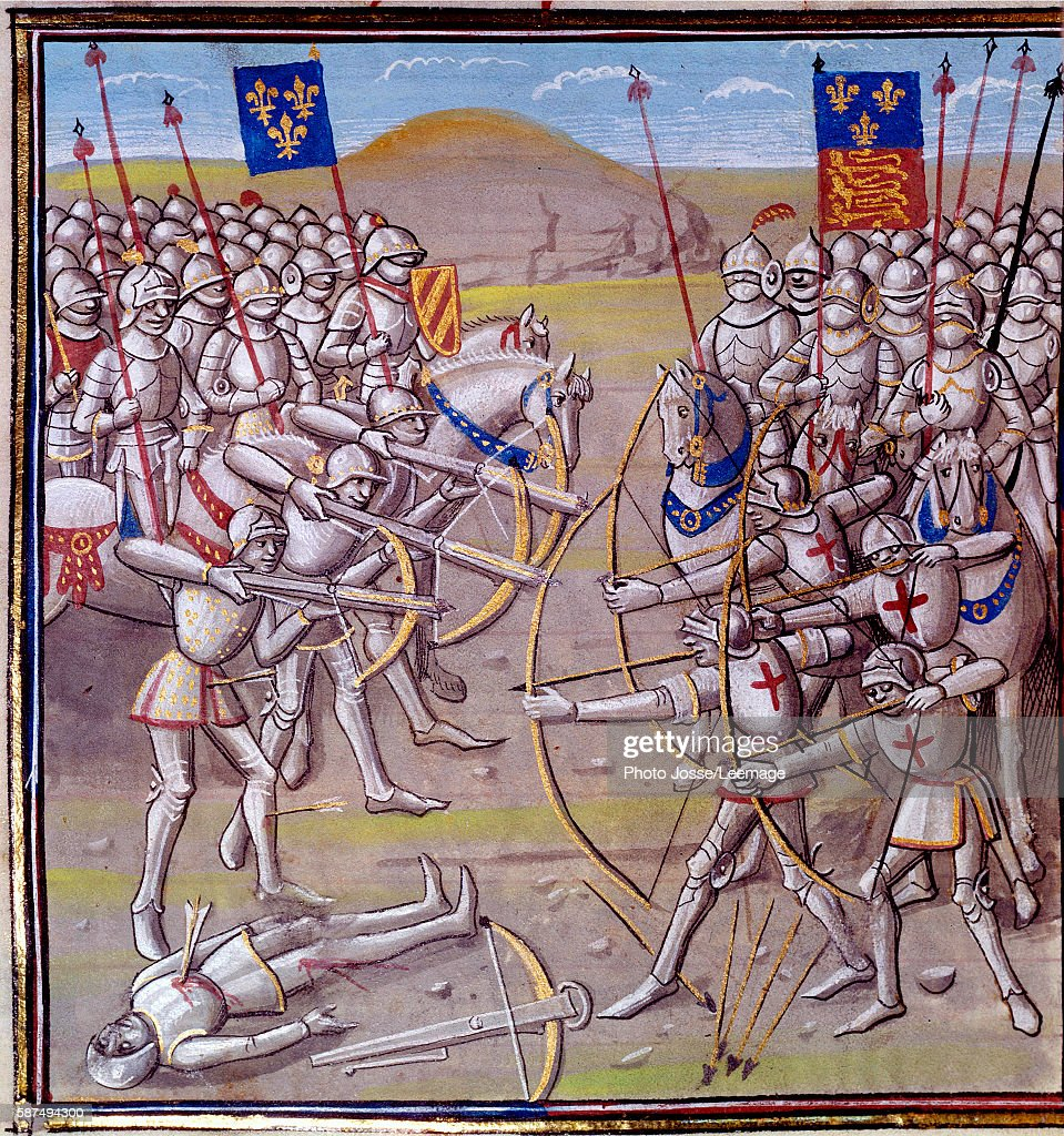 The Battle of Crecy, 1346 - 14th century illumination : News Photo