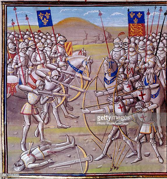 Hundred Years' War the Battle of Crecy on 26 August 1346 between the French and the English forces Miniature from a manuscript of the 14th century...