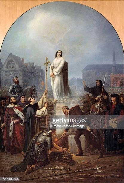 The martyrdom of Joan of Arc at the stake on place du vieux marche in front of the St Vincent Church Painting by Frederic Legrip 1860 188x130 cm...