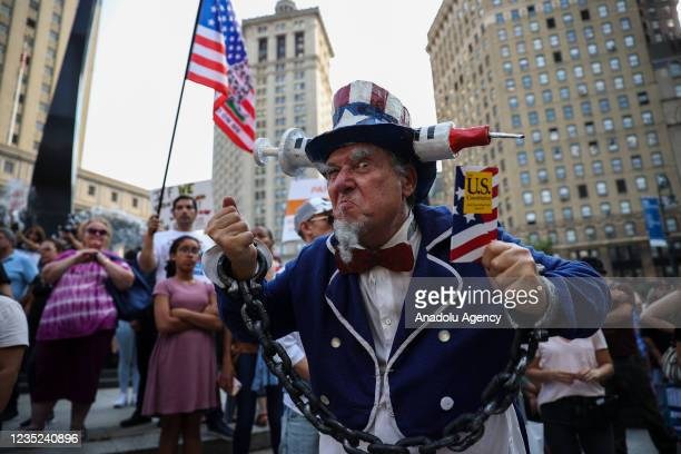 """Hundreds are gathered at the Foley Square as """"Freedom Rally"""" to protest vaccination mandate in New York City, United States on September 13, 2021."""