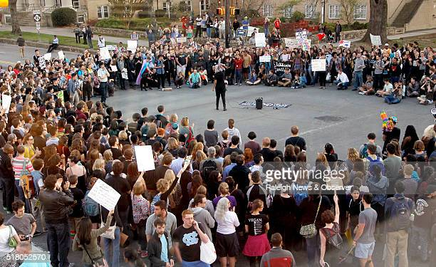 Hundreds attend a rally in Chapel Hill NC on Tuesday March 29 to protest the recent passage of NC HB2 The protestors marched from the old post office...