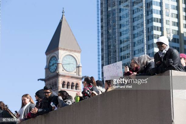 TORONTO ON MARCH 3 Hundreds came to Nathan Philips Square to take part in a rally for Tina Fontaine a First Nations woman who was found murdered in...