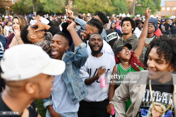 Hundreds dance to music at Howard University as it celebrates it's homecoming with the return of YardFestin Washington DC on October 21 2016