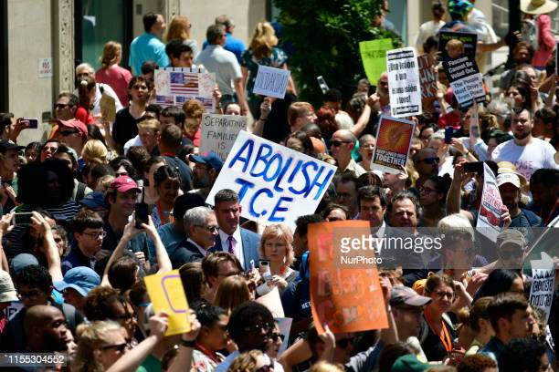 Hundreds demand to end white supremacy and an end of human concentration camps at the US border during a rally in Philadelphia PA on July 12 2019 as...