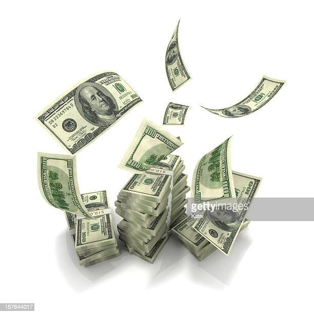 Hundreds Falling onto Money Stack