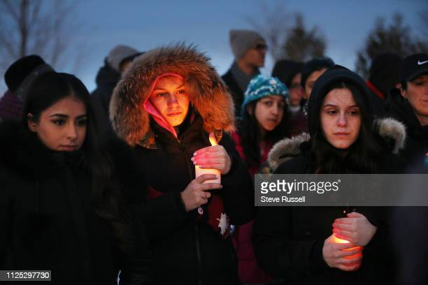 Hundreds gather at Meadowvale Village Green, near Meadowvale Village Public School in Mississauga for a vigil for 11-year-old girl Riya Rajkumar. In...