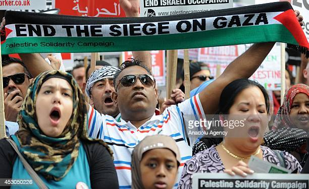 Hundreds gathering outside the Israeli Embassy in London protest against Israeli attacks on Gaza within the ''Operation Protective Edge'' in London...