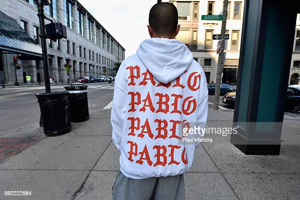 Hundreds line up, many as early as 4:30 pm the day prior, to attend the opening of the Kanye West temporary PABLO store on Boylston Street on August...
