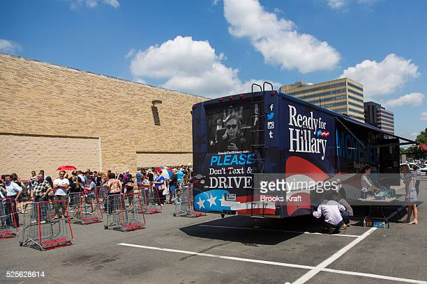 Hundreds line up outside of Costco where former Secretary of State Hillary Clinton attends a signing her new book 'Hard Choices A Memoir' in...