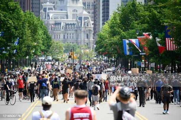 Hundreds march to protest Police Brutality at a rally in Center City Philadelphia PA on May 30 2020 Many cities in the nation see similar protest...