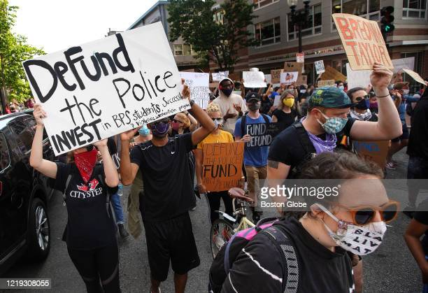 Hundreds march with the Coalition of Black Youth in Boston on June 10 2020 The protestors marched from Nubian Square to City Hall to urge Boston City...
