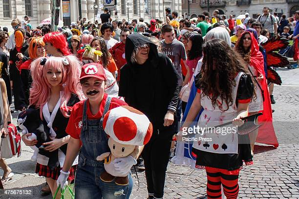 TORINO TURIN EUROPE ITALY Hundreds marched through the streets of Turin in the first edition of Cosplay Walk An event with the aim to make people...