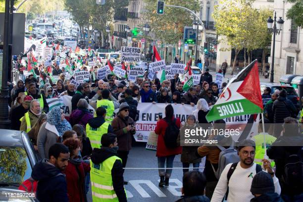 Hundreds marching through Madrid during the demonstration. Thousands of Saharawis arrive from all over Spain to demand the end of Morocco's...