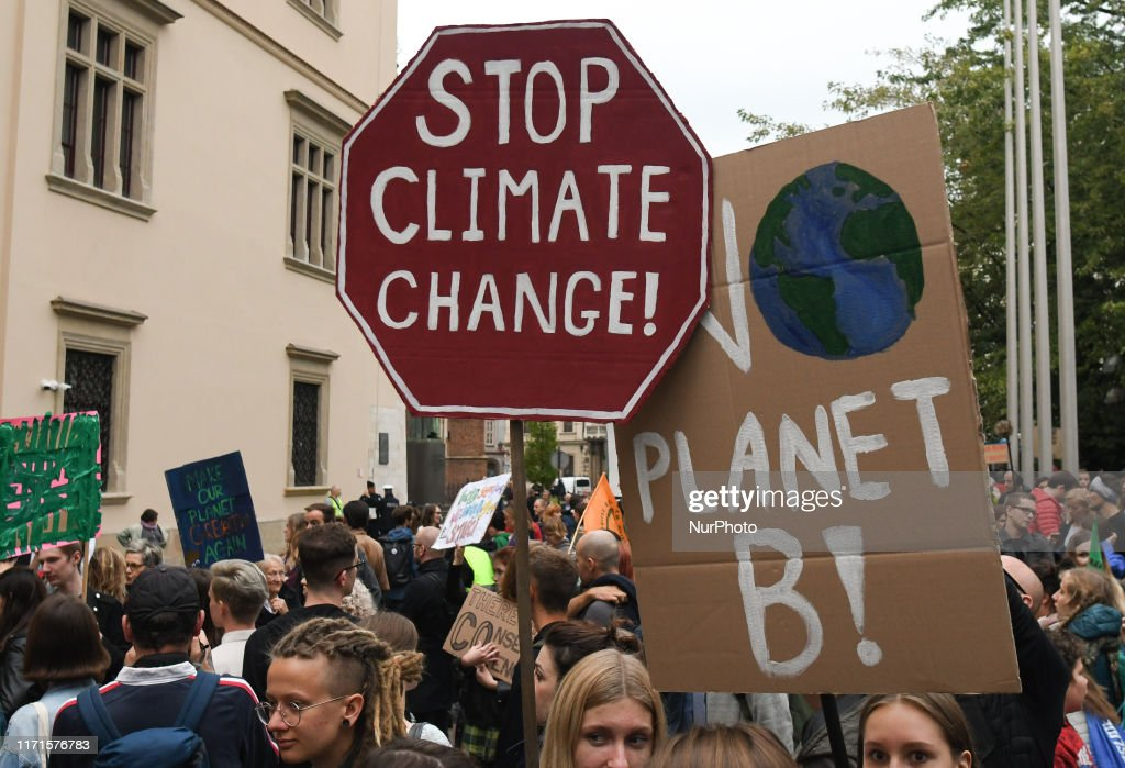 Friday For Future Climate Change Protest In Krakow : News Photo