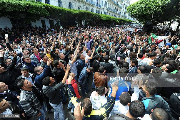 Hundreds of Algerian students demanding political change demonstrate on May 2 2011 in the center of Algiers Clashes erupted between security forces...