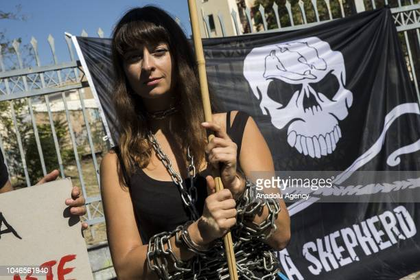 Hundreds of animal rights demonstrators hold banners and shout slogans as they stage a march from Thisio Square to Sintagma Square during a...