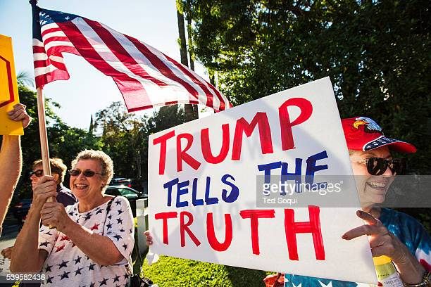 Hundreds of anti and pro Donald Trump demonstraters out front of the Luxe Hotel in Los Angeles Presidential candidate Donald Trump spoke to a group...