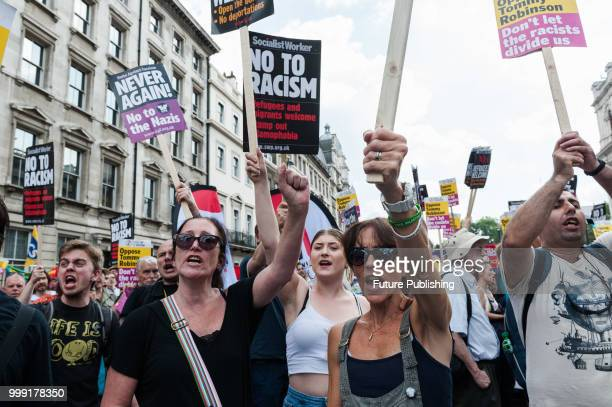 Hundreds of antifascist and antiracism activists stage a counter demonstratiion to the 'Free Tommy' March taking place in central London The...