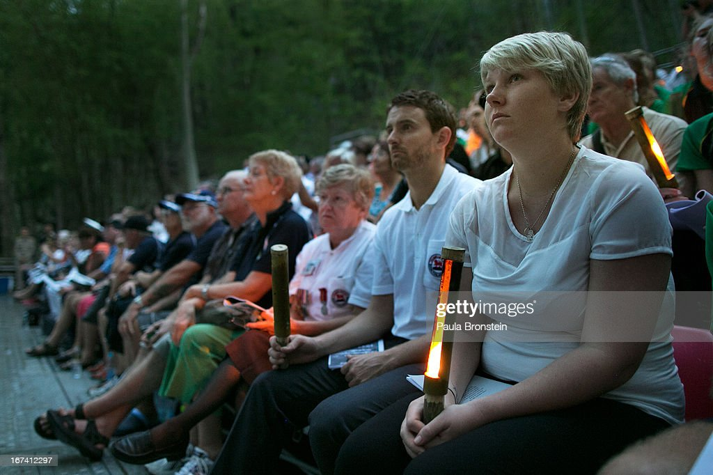 Hundreds of Australians listen during the sunrise memorial service in remembrance of all those who lost their lives, on April 25, 2013 in Hellfire Pass, Thailand. Hellfire Pass is a small section of the Burma-Thailand railway which was built by POW's and Asian Laborers under horrific conditions during the Second World War (WWII). Heavy loss of life was suffered during construction due to disease, starvation and exhaustion.