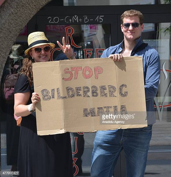 Hundreds of Austrian people protest the 63rd Bilderberg conference in Telfs, Tyrol state, Austria on June 13, 2015.