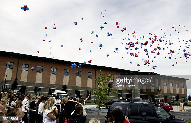 Hundreds of balloons are released after a memorial service for Dylan Groene at Real Life Ministries July 16 2005 in Post Falls Idaho Joseph Edward...