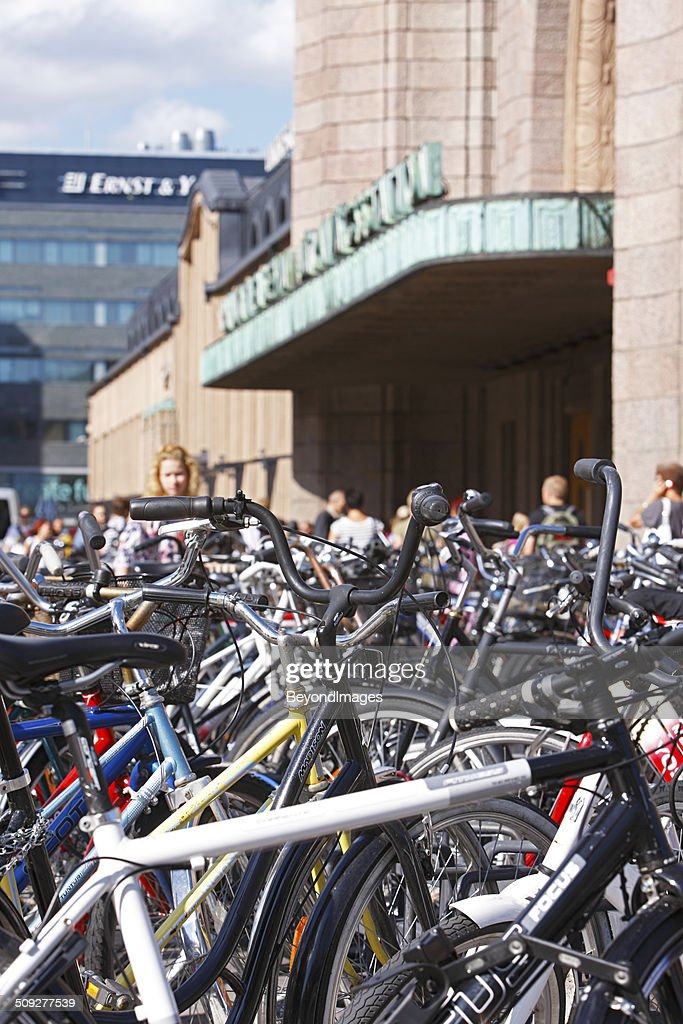 Hundreds of bicycles parked outside central railway station : Stock Photo