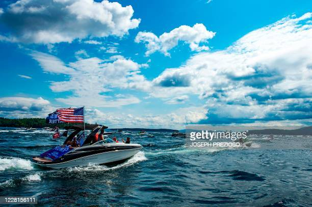 TOPSHOT Hundreds of boats decorated with President Donald Trump campaign flags and US Flags parade through the lake together during the ÒDonald Trump...