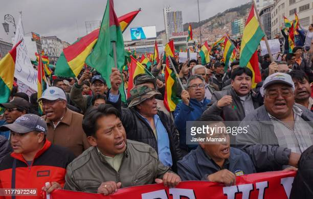 Hundreds of Bolivian citizens take the streets to protest against Evo Morales after he declared himself the winner of the presidential elections on...