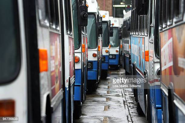 Hundreds of buses sit parked at the Bondi Junction Bus Depot as bus drivers hold a 24hour stoppage on December 18 2009 in Sydney Australia Drivers...