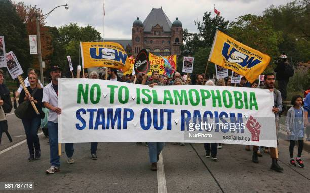 Hundreds of Canadians marched during a rally against White Supremacy and Islamophobia at Queen's Park in Toronto Ontario Canada on October 15 2017
