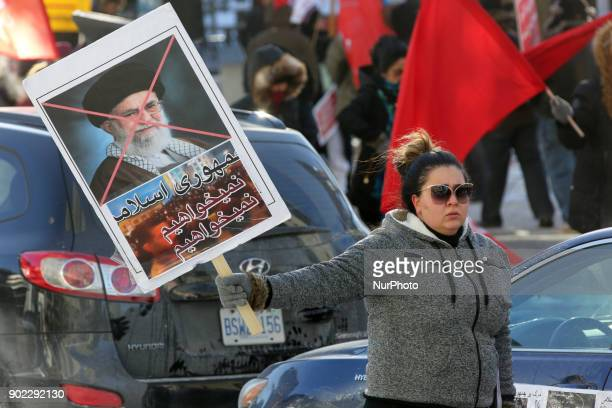 Hundreds of Canadians take part in a protest against the Islamic Republic of Iran in Toronto Ontario Canada on January 06 2018 Protestors showed...