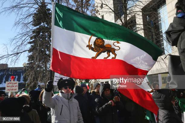 Hundreds of Canadians took part in a protest against the Islamic Republic of Iran in Toronto Ontario Canada on January 06 2018 Protestors showed...
