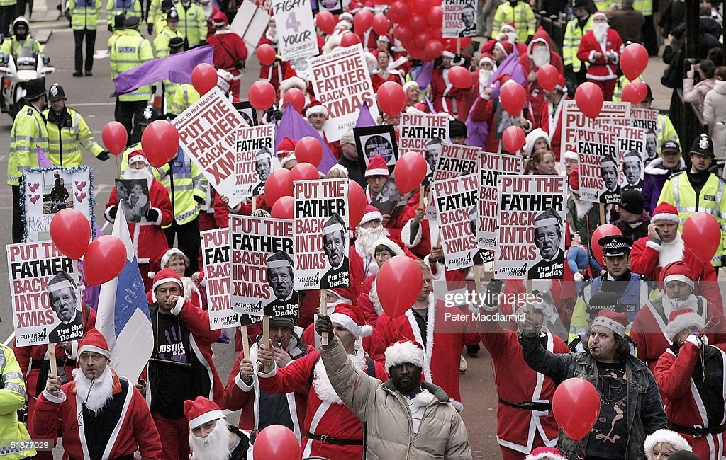 Father Christmases From Fathers 4 Justice Campaign In London : News Photo