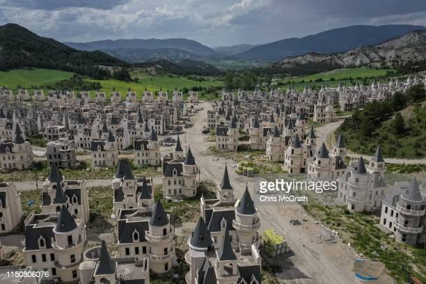Hundreds of castle-like villas and houses are seen unfinished at the Burj Al Babas housing development on May 21, 2019 in Mudurnu, Turkey....