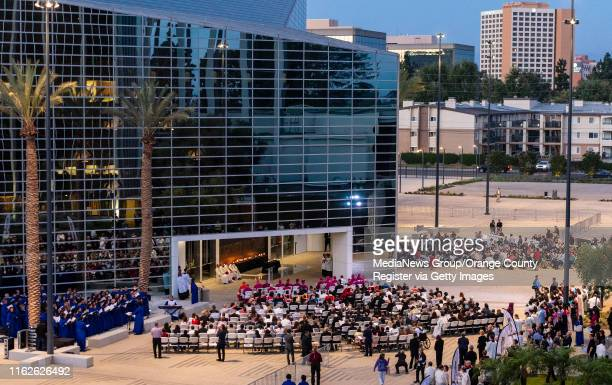 Hundreds of clergy and parishioners gather outside the entrance to Christ Cathedral for a Solemn Evening Prayer and Vigil with the Relics at Christ...